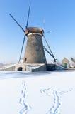 Ветрянка в Kinderdijk, Нидерландах стоковые фотографии rf