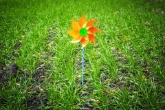 Ветрянка игрушки на поле Стоковые Изображения