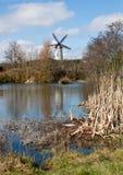 Ветрянка на озере Стоковая Фотография RF