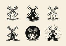 Ветрянка, логотип мельницы или ярлык Мука, установленные значки хлебопекарни также вектор иллюстрации притяжки corel иллюстрация штока