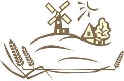 ветрянка пшеницы ландшафта Стоковое Изображение