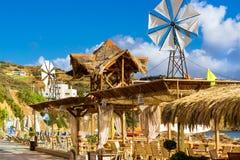 Ветрянка с белым пропеллером Бали, Крит, Греция Стоковая Фотография RF
