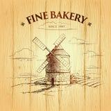 Ветрянка bakersfield ярлыки, пакет для хлеба, хлебопекарни иллюстрация штока
