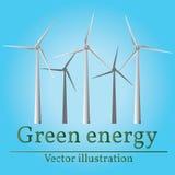 ветрянка eco изолированная энергией белая Позеленейте энергию Ветрянки на восходе солнца Стоковое фото RF