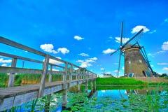 ветрянка kinderdijk Голландии Стоковые Изображения RF