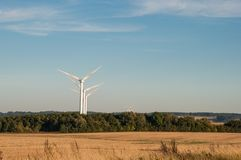 Ветрянки в датском ландшафте Стоковое Изображение