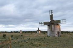 Ветрянки в поле в Готланде, Швеции Стоковые Фотографии RF