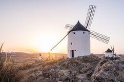 Ветрянки в провинция Consuegra, Toledo, Ла Mancha Кастилии, курорт Стоковые Изображения RF