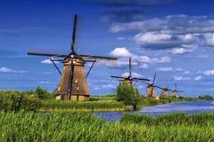Ветрянки в Kinderdijk, Голландии, Нидерландах Стоковое Фото