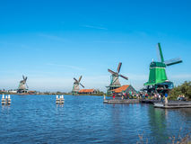 4 ветрянки в Zaan Schans Стоковая Фотография RF