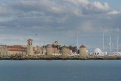 Ветрянки на гавани Родосе Mandraki Стоковое фото RF