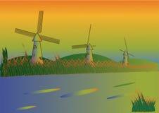 Ветрянки на заходе солнца, изумительном взгляде и мечтах бесплатная иллюстрация