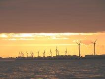 Ветрянки на море во время захода солнца Стоковые Изображения RF