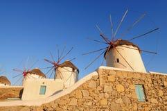Ветрянки на острове Греции Mykonos Стоковые Изображения RF