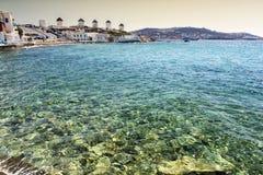 Ветрянки на острове Mykonos, Кикладах, Греции Стоковые Фото