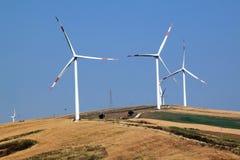 Ветрянки на поле для электричества Стоковое Фото