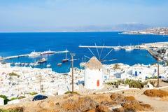 Ветрянки на Mykonos, Греции Стоковая Фотография RF
