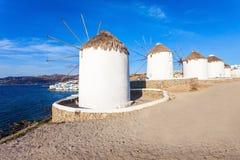 Ветрянки на Mykonos, Греции Стоковое Изображение
