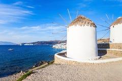 Ветрянки на Mykonos, Греции Стоковая Фотография
