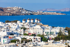 Ветрянки на Mykonos, Греции Стоковые Изображения
