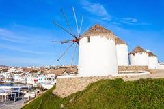 Ветрянки на Mykonos, Греции Стоковые Фотографии RF