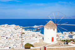 Ветрянки на Mykonos, Греции Стоковое Фото