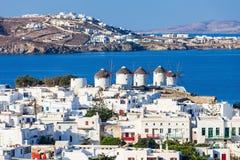 Ветрянки на Mykonos, Греции Стоковое фото RF