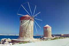 Ветрянки Родоса Стоковая Фотография