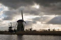 Ветрянки Kinderdijk, Нидерландов Стоковая Фотография RF