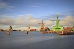 Ветрянки Zaanse Schan в Нидерландах Стоковые Изображения RF