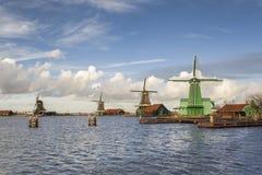 Ветрянки Zaanse Schan в Нидерландах Стоковая Фотография RF