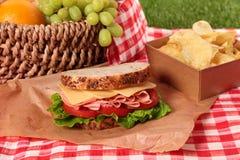 Ветчина корзины пикника лета и сандвич сыра Стоковая Фотография RF