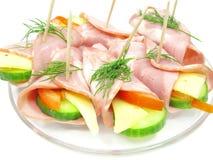 ветчина сыра свертывает овощ сандвича Стоковые Фотографии RF