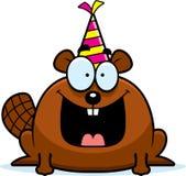 Вечеринка по случаю дня рождения бобра шаржа иллюстрация вектора