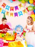 Вечеринка по случаю дня рождения ребенка. стоковое фото rf