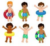 Вечеринка у бассейна для мальчиков также вектор иллюстрации притяжки corel Стоковые Изображения