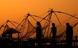 Вечер в китайских рыболовных сетях Стоковое Фото