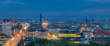 Вечер в современном городе, панорама Копенгагена Стоковое фото RF