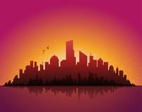 вечер городского пейзажа стоковое изображение rf