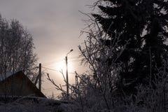 Вечер зимы в покрытой снег деревне Крыша дома и штендер с фонариком среди деревьев покрытых с стоковое фото rf