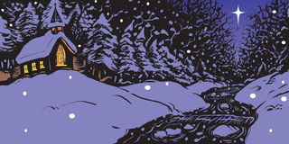 Вечер зимы Snowy с церковью и заводью Стоковые Изображения RF