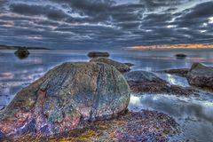 Вечер морем в HDR Стоковая Фотография