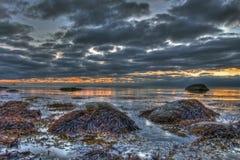 Вечер морем в HDR Стоковое Изображение RF