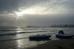 Вечер на море Durres стоковые фото