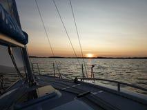 Вечер на озере, Masuria, Польша Стоковая Фотография