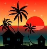 Вечер на пляже Бесплатная Иллюстрация