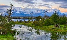 Вечер на Рио Serrano - Torres del Paine N P Чили стоковые фото