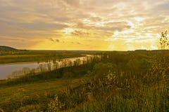 Вечер осени на Волге Стоковая Фотография