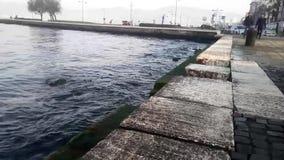 Вечер приходит на море на Izmir Турции видеоматериал