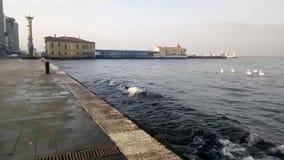 Вечер приходит на море на Izmir Турции сток-видео